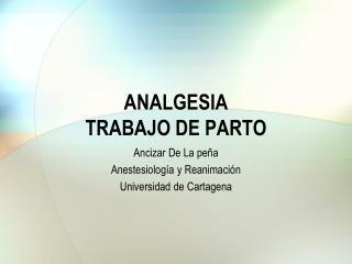 ANALGESIA  TRABAJO DE PARTO