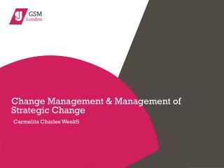 Change Management & Management of Strategic Change Carmelita Charles Week5