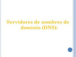Servidores  de nombres de dominio (DNS):