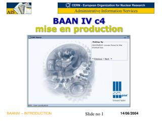 BAAN IV c4 mise en production