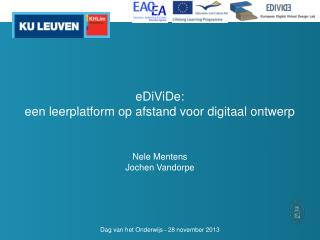 eDiViDe : een  leerplatform op afstand voor digitaal ontwerp