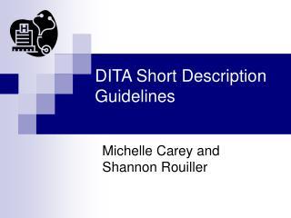 DITA Short Description Guidelines