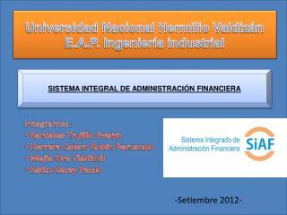 Universidad Nacional Hermilio Valdizán E.A.P. Ingeniería industrial