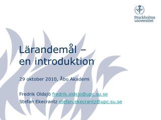 Lärandemål –  en introduktion