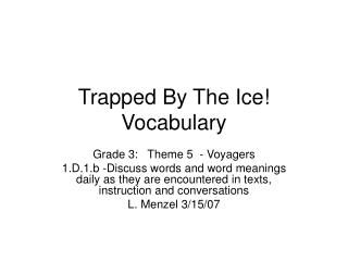 Trapped By The Ice Vocabulary