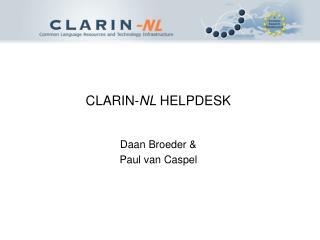 CLARIN- NL  HELPDESK