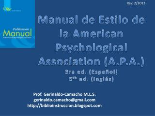 Prof.  Gerinaldo -Camacho M.L.S . gerinaldomacho@gmail