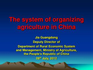 The system of organizing agriculture in China