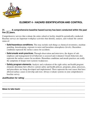 ELEMENT 4 - HAZARD IDENTIFICATION AND CONTROL