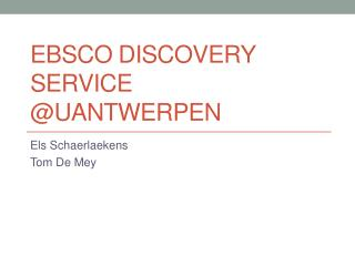 Ebsco  Discovery Service @ UAntwerpen
