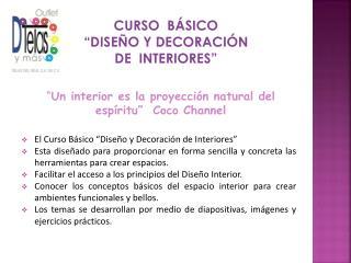 """curso  básico """"Diseño y decoración  de  interiores"""""""