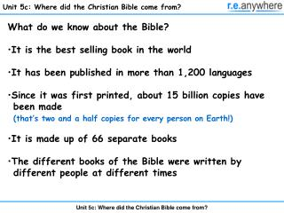 Unit 5c: Where did the Christian Bible come from