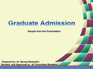 Graduate  Admission Sample from the Presentation