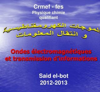 Ondes �lectromagn�tiques  et transmission d�informations
