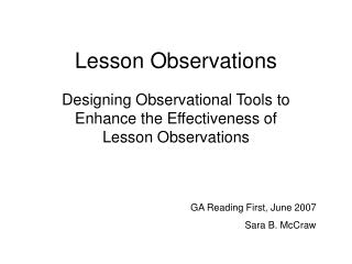 Lesson Observations