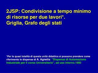 2JSP: Condivisione a tempo minimo di risorse per due lavori*.  Griglia, Grafo degli stati