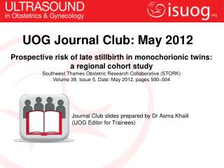 UOG Journal Club:  May  2012