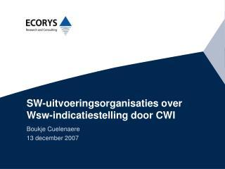 SW-uitvoeringsorganisaties over Wsw-indicatiestelling door CWI