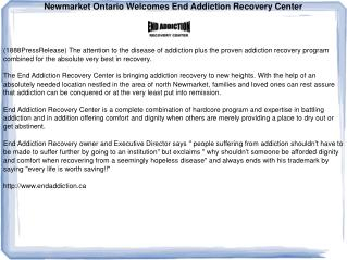 Newmarket Ontario Welcomes End Addiction Recovery Center