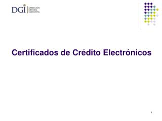 Certificados de Cr�dito Electr�nicos