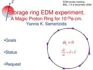 Storage ring EDM experiment. A Magic Proton Ring for 10-29ecm. Yannis K. Semertzidis