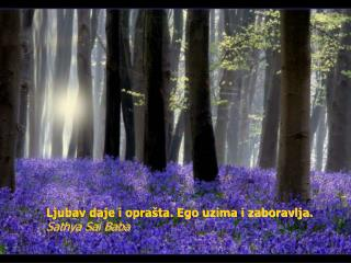 Love gives and forgives. Self gets and forgets.  Ljubav daje i opra ta. Ego uzima i zaboravlja. Sathya Sai Baba