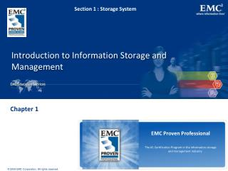Introduction to Information Storage and Management