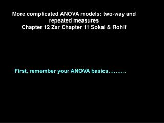 More complicated ANOVA models: two-way and repeated measures