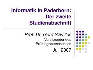 Informatik in Paderborn:  Der zweite Studienabschnitt