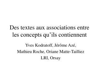 Des textes aux associations entre les concepts qu'ils contiennent