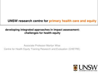 developing integrated approaches in impact assessment:  challenges for health equity