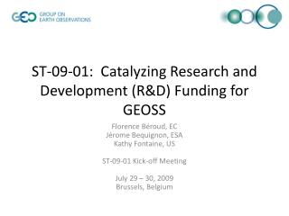ST-09-01:  Catalyzing Research and Development (R&D) Funding for GEOSS
