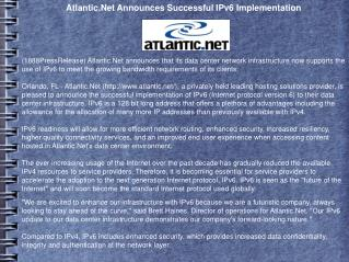 Atlantic.Net Announces Successful IPv6 Implementation