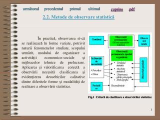 2.2. Metode de observare statistică
