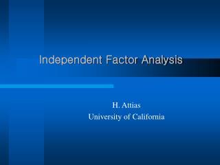 Independent Factor Analysis