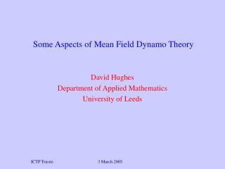 Some Aspects of Mean Field Dynamo Theory