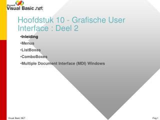 Hoofdstuk 10 - Grafische User Interface : Deel 2