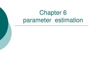 Chapter 6   parameter  estimation
