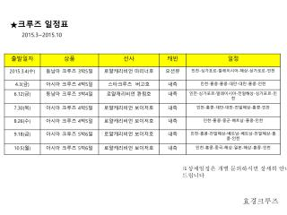 ★ 크루즈  일정표 2015.3~2015.10