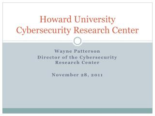 Howard University Cybersecurity Research Center