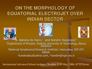 ON THE MORPHOLOGY OF EQUATORIAL ELECTROJET OVER INDIAN SECTOR