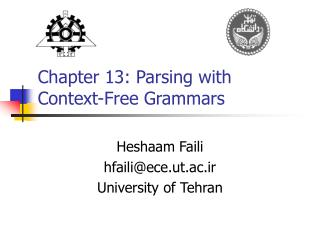 Chapter 13: Parsing with  Context-Free Grammars