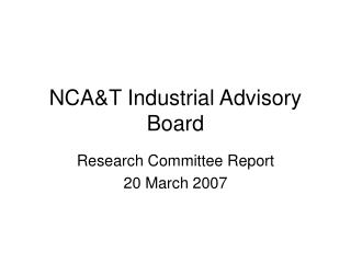 NCA&T Industrial Advisory Board