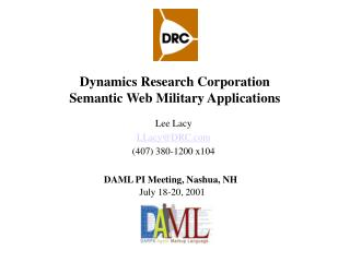 Dynamics Research Corporation Semantic Web Military Applications