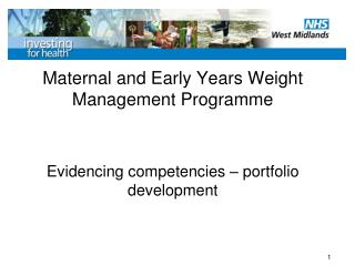 Maternal and Early Years Weight Management Programme