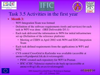 Task 3.5 Activities in the first year
