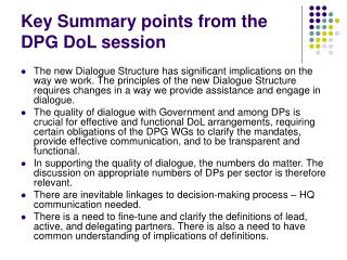 Key Summary points from the DPG DoL session