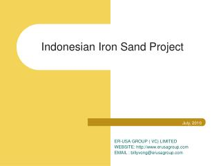 Indonesian Iron Sand Project