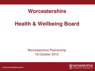 Worcestershire  Health & Wellbeing Board