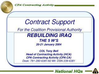 Contract Support For the Coalition Provisional Authority